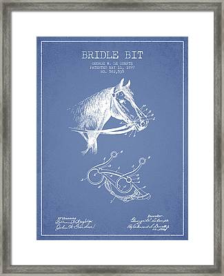 Bridle Bit Patent From 1897 - Light Blue Framed Print by Aged Pixel