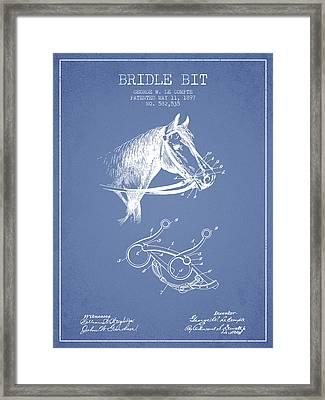 Bridle Bit Patent From 1897 - Light Blue Framed Print