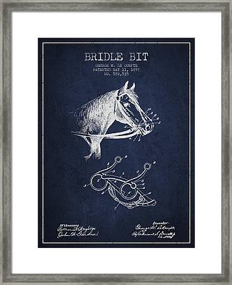 Bridle Bit Patent From 1897 - Navy Blue Framed Print