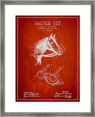 Bridle Bit Patent From 1897 - Red Framed Print by Aged Pixel