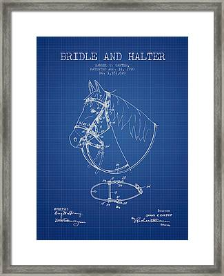 Bridle Halter Patent From 1920 - Blueprint Framed Print by Aged Pixel