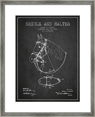 Bridle Halter Patent From 1920 - Charcoal Framed Print by Aged Pixel