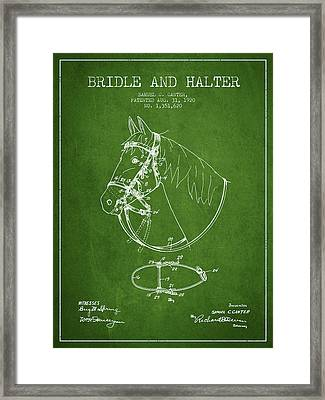 Bridle Halter Patent From 1920 - Green Framed Print by Aged Pixel