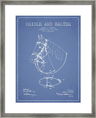 Bridle Halter Patent From 1920 - Light Blue Framed Print by Aged Pixel