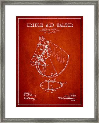 Bridle Halter Patent From 1920 - Red Framed Print by Aged Pixel