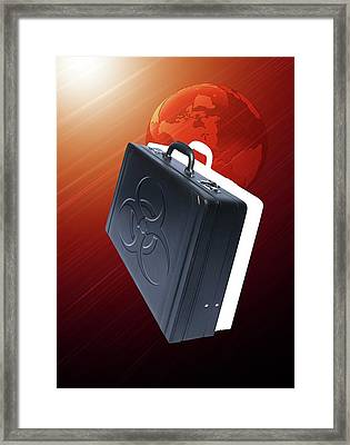 Briefcase With Biohazard Symbol Framed Print by Victor Habbick Visions