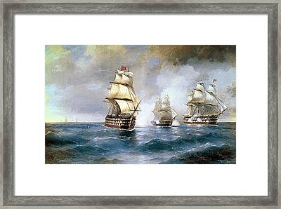 Brig Mercury Attacked By Two Turkish Ships Framed Print