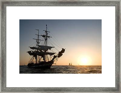 Brig Pilgrim At Sunset Framed Print by Cliff Wassmann