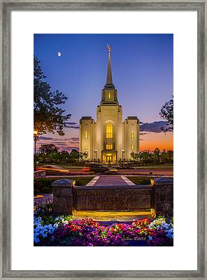 Brigham City Temple Moon N Stars Framed Print by La Rae  Roberts