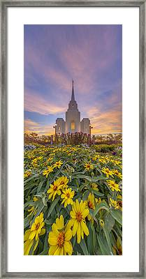 Brigham City Temple Vertical Panorama Framed Print by Dustin  LeFevre