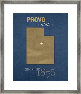Brigham Young University Cougars Provo Utah College Town State Map Poster Series No 023 Framed Print by Design Turnpike