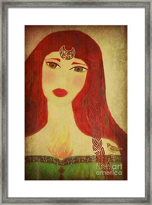 Brighid Celtic Goddess Folk Framed Print by Sacred  Muse