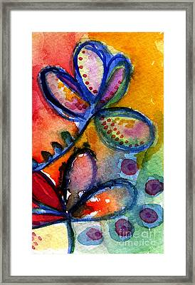 Bright Abstract Flowers Framed Print by Linda Woods