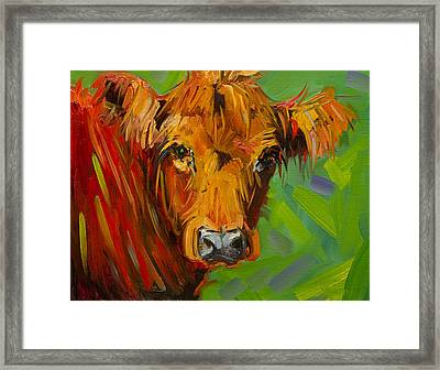 Bright And Beautiful Cow Framed Print