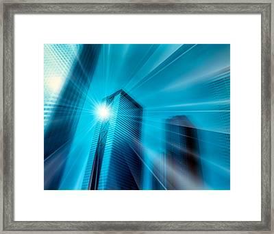 Bright Ball Of Light Radiating Rays Framed Print