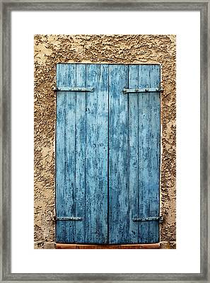 Bright Blue French Shutters Framed Print