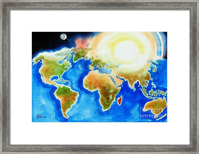 Bright Blue World Map In Watercolor With Sunshine And Moon  Framed Print by Kip DeVore