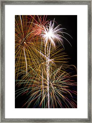 Bright Bursts Of Fireworks Framed Print by Garry Gay
