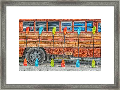 Bright Colored Paddles And Vintage Woodie Surf Bus - Florida - Hdr Style Framed Print