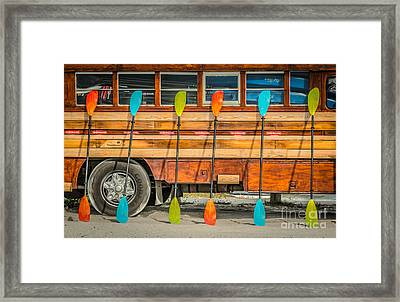 Bright Colored Paddles And Vintage Woodie Surf Bus - Florida Framed Print
