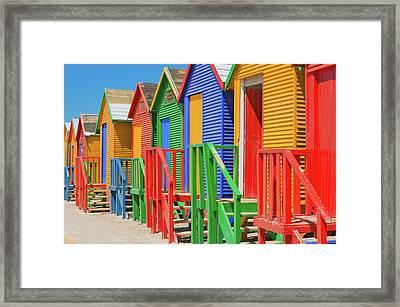 Bright Crayon-colored Beach Huts At St Framed Print