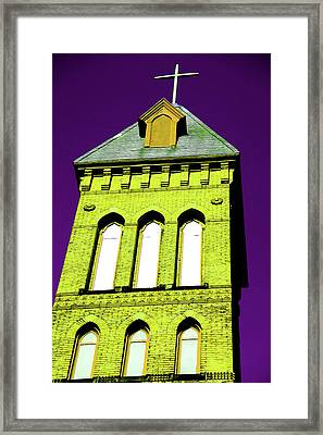 Bright Cross Tower Framed Print by Karol Livote
