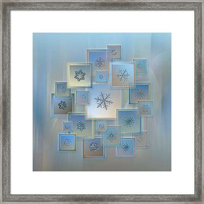Framed Print featuring the photograph Snowflake Collage - Bright Crystals 2012-2014 by Alexey Kljatov
