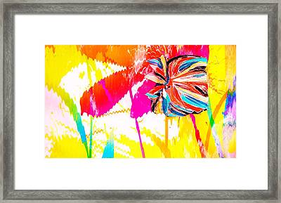 Bright Floral  Collage Framed Print by Anne-Elizabeth Whiteway