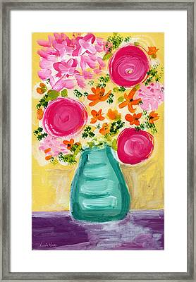Bright Flowers Framed Print by Linda Woods