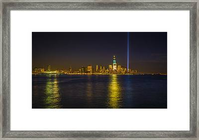 Bright Freedom Tower Framed Print by Chris Halford