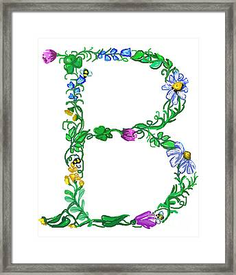 Bright Fun Colorful Hand Drawn Monogram B Framed Print by Lea S