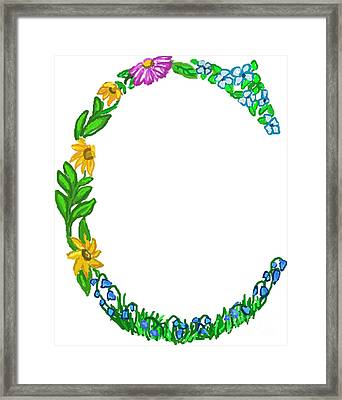 Bright Fun Colorful Hand Drawn Monogram C Framed Print by Lea S