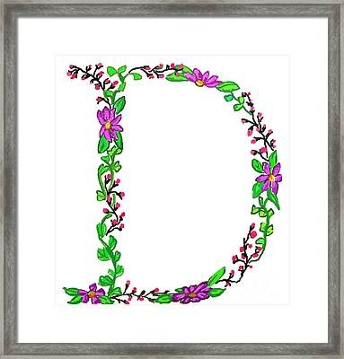 Bright Fun Colorful Hand Drawn Monogram D Framed Print by Lea S