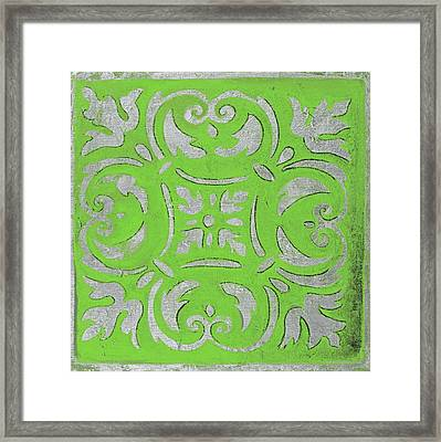 Bright Green Mosaic Framed Print by Patricia Pinto