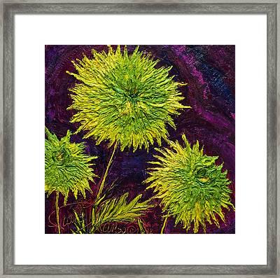 Bright Green Mums Framed Print by Paris Wyatt Llanso