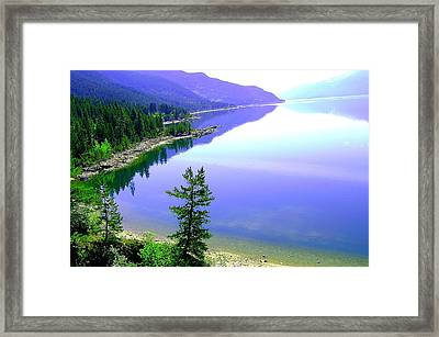Bright Kootenay Lake Framed Print by Mavis Reid Nugent