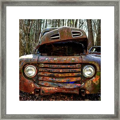 Bright Lights On An Old Ford Framed Print