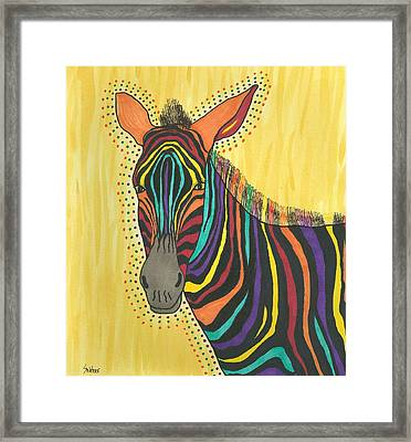 Framed Print featuring the painting Bright Lite African Zebra  by Susie Weber