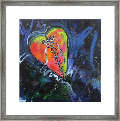 Bright Mended Broken Heart Framed Print by Carol Suzanne Niebuhr