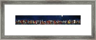 Bright Moon Over The Hudson Framed Print