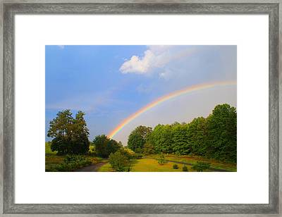 Framed Print featuring the photograph Bright Rainbow by Kathryn Meyer