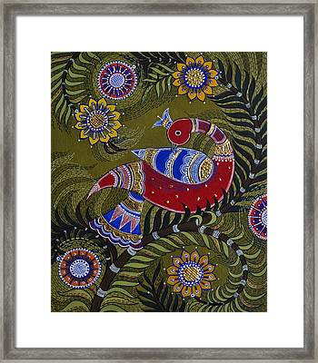Bright Red Peacock Framed Print