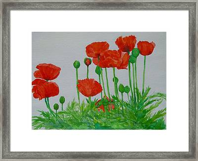 Red Poppies Colorful Flowers Original Art Painting Floral Garden Decor Artist K Joann Russell Framed Print