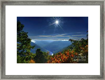 Bright Sun In Morning Cheat River Gorge Framed Print by Dan Friend