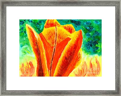 Bright Yellow Orange Tulip Acrylic Painting Framed Print by Beverly Claire Kaiya