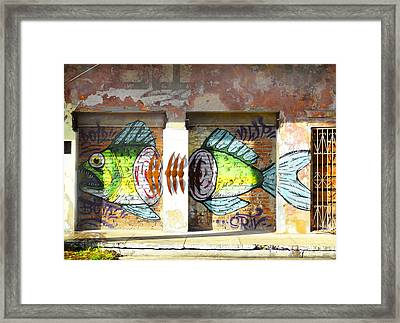 Brightly Colored Fish Mural Framed Print