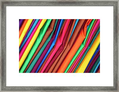 Brightly Colored Material At Suva Flea Framed Print by David Wall