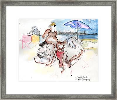 Brighton Beach On A Windy Day Framed Print by Carolyn Weltman