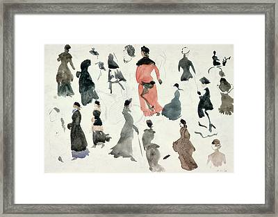 Brighton Ladies Framed Print by Randolph Caldecott
