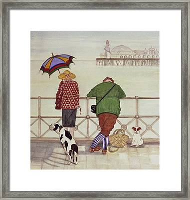 Brighton Pier, 1986 Watercolour On Paper Framed Print by Gillian Lawson
